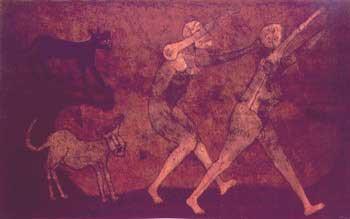 Dos personajes atacado por perros, 1983