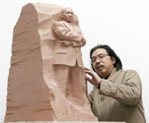 Yixin working on scale model of Marting Luther King