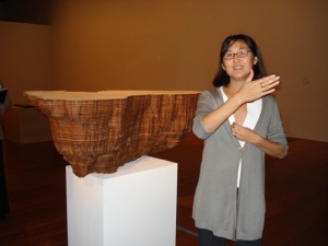 Maya Lin, with sculpture from Bodies of Water series