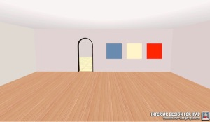Empty room with three painted panels - art?